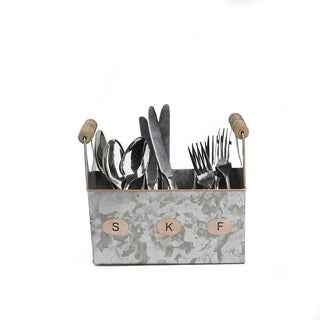 Mind Reader Galvanized Utensils Caddy, Kitchen Condiment Organizer w