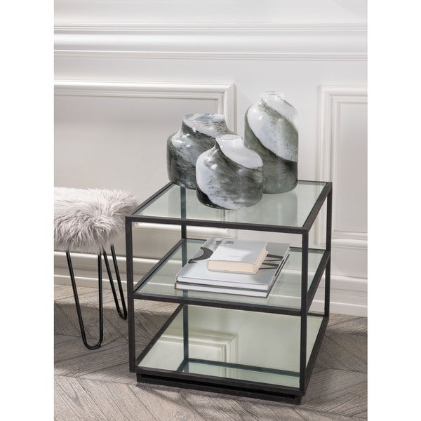 Winslett Clear/Matte/White Marble End Table