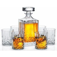 Miko Crystal Decanter Set With 6 Double Old Fashioned Glasses- Handmade Lead Free Crystal Glass (Nairn)