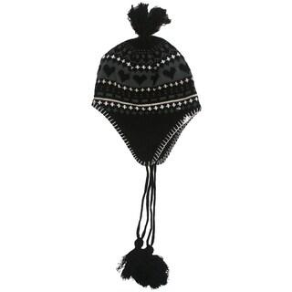 Winter Warm Kids Hat With Hearts Cute Soft Ear Flap Hat Lovely