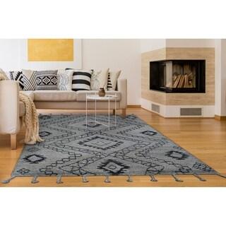 "Hand-Knotted Cusco Salkantay Gray Wool Area Rug - 8'6"" x 11'6"""