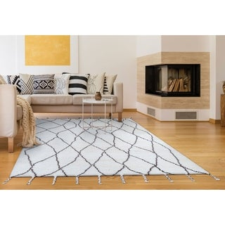 """Hand-Knotted Cusco Vinicunca Ivory Wool Area Rug - 7'6"""" x 9'6"""""""