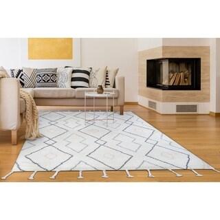 """Hand-Knotted Cusco Huaraz Ivory Wool Area Rug - 7'6"""" x 9'6"""""""