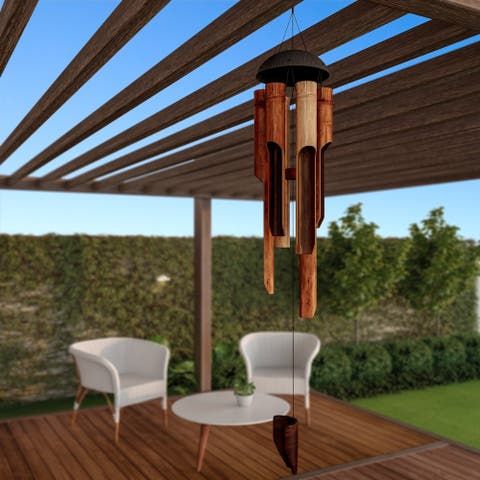 """Bamboo Wind Chime 38"""" Hand Crafted and Hand Tuned Wind Chimes Pure Garden"""