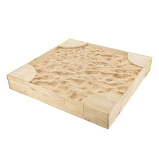 Wooden Sandbox with Built In Seating Hey! Play! - 50 x 50 x 7.5
