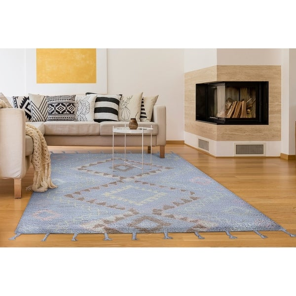 """Hand-Knotted Cusco Lares Light Blue Wool Area Rug - 8'6"""" x 11'6"""""""