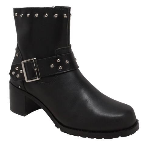 """Women's 6"""" Heeled Buckle Biker Boot Black"""