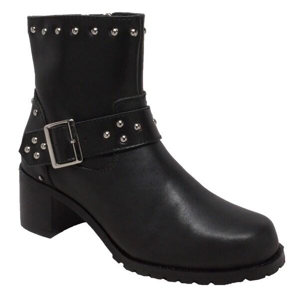 Shop Women s 6-inch Heeled Buckle Black Leather Biker Boots - Free ... e805a4d76e