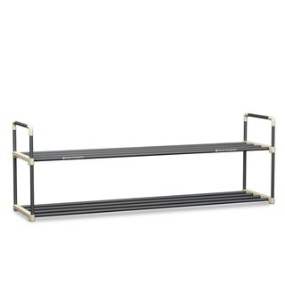 Shoe Rack with 2 Shelves-Two Tiers for 12 Pairs Home-Complete - 40.9 x 11.8 x 13.3