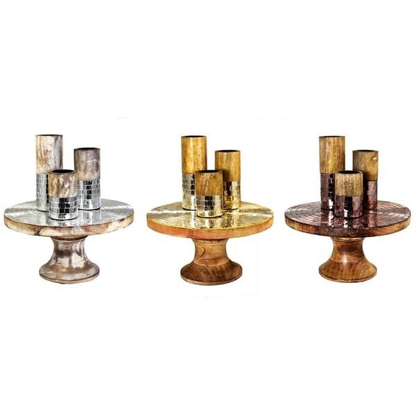 Essential Decor & Beyond Mosaic Wooden Tealight Holder EN14544 - 6 x 12 x 12