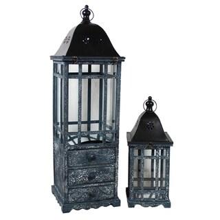Essential Decor & Beyond Wooden Lantern with Drawers Set EN19002 - 11.81 x 11.81 x 39.37