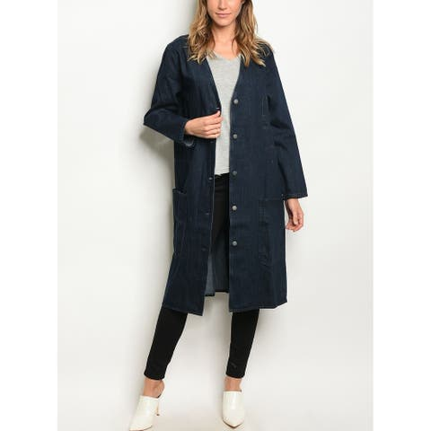JED Women's Blue Denim Button Up Long Overcoat