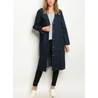 Link to JED Women's Blue Denim Button Up Long Overcoat Similar Items in Women's Outerwear