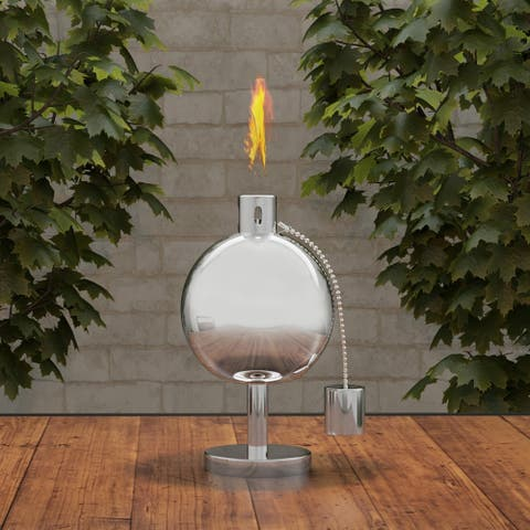 """Tabletop Torch Lamp 10"""" Stainless Steel Pure Garden"""