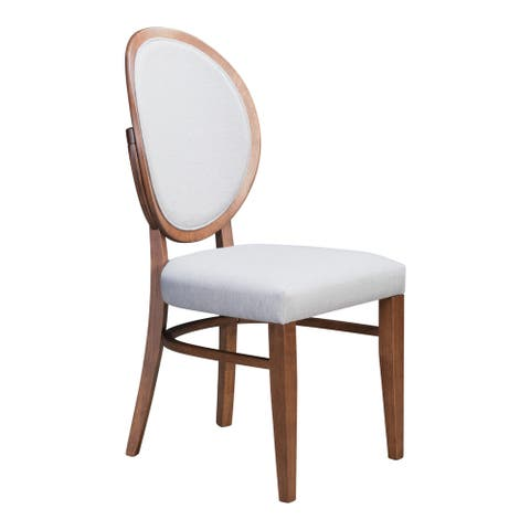 Regents Dining Chair Walnut & Light Gray (Set of 2) - 21.8L x 16.9W x 36.8H
