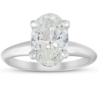 Bliss 14k White Gold 2.80ct Oval Diamond Solitaire Engagement Ring Clarity Enhanced