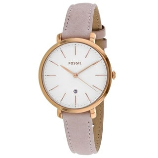 Fossil Women's ES4369 Jacqueline White Dial Light Pink Leather Watch