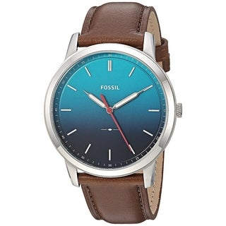 Fossil Men's FS5440 The Minimalist Gradient Blue Dial Brown Leather Watch