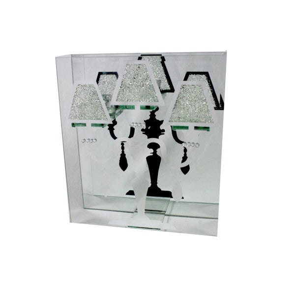 Essential Decor & Beyond Glass Candelabra EN110903 - 11.1 x 2.3 x 9.8