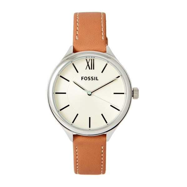Fossil Women's BQ3083 Suitor Off-White Dial Brown Leather Watch