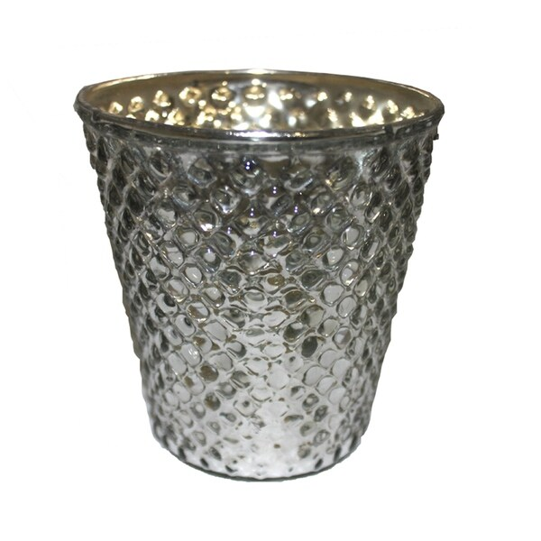 Essential Decor & Beyond Embossed Hammered Glass Votive EN14226 - 4 x 4 x 4