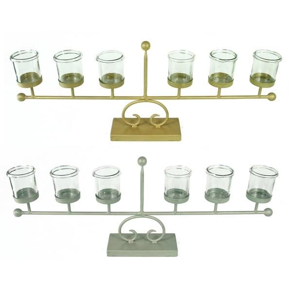 Essential Decor & Beyond Glass Cup Metal Candelabra EN14726 - 3.5 x 29.5 x 11.5