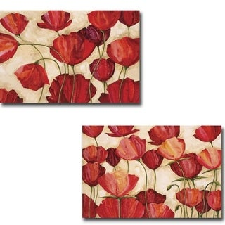 Poppy Field I and II by Robert Charon 2-piece Gallery Wrapped Canvas Giclee Art Set (Ready to Hang)