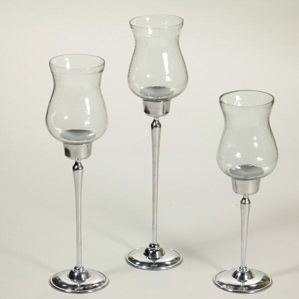 Essential Decor & Beyond 3 Piece Glass Hurricane Set EN60262 - 5 x 12 x 5