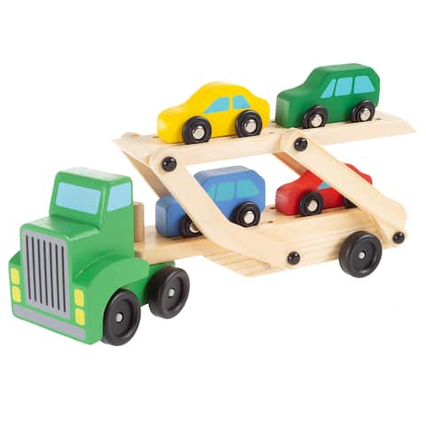 Wooden Truck Toy- 2 Level Loader Transporter Semi by Hey! Play!