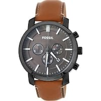 Fossil Men's BQ2047 Lance Chronograph Black Dial Brown Leather Watch