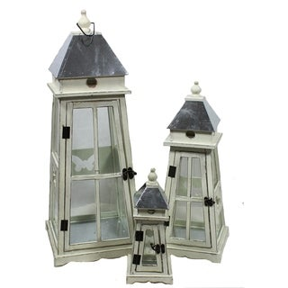 Essential Decor & Beyond Wooden Lantern Set EN19009 - 11.42 x 11.42 x 29.92