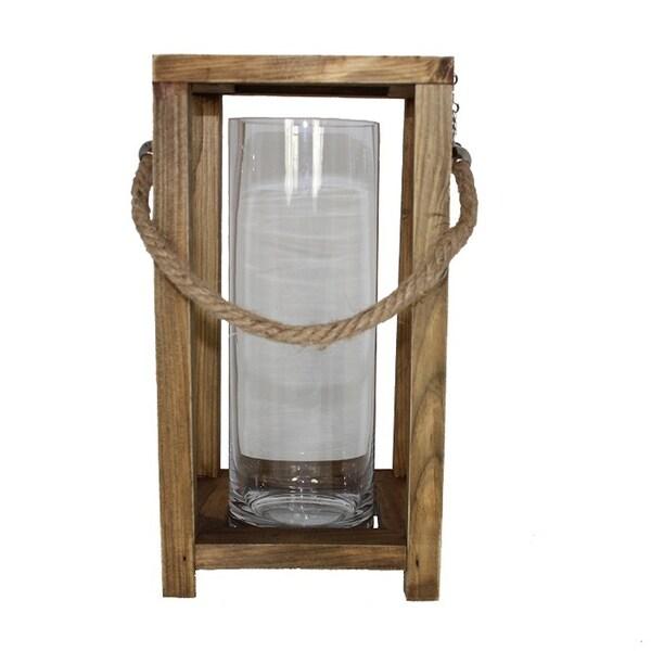 Essential Decor & Beyond Wood/Glass Votive Holder EN2911 - 14 x 17.75 x 0.75