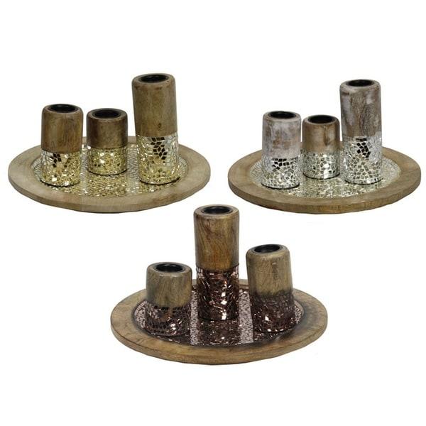 Essential Decor & Beyond Mosaic 3 Piece Tealight Set EN23184 - 16.5 x 16.5 x 19.5