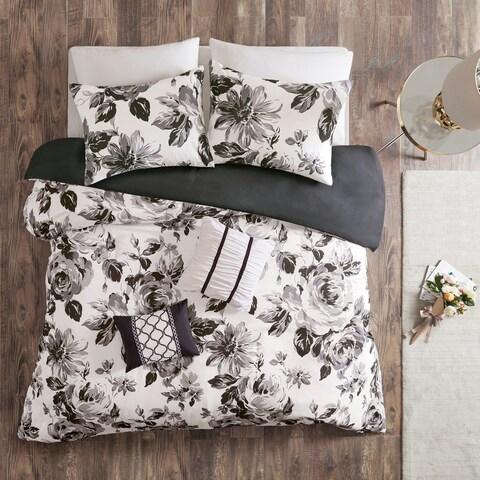 Intelligent Design Renee Black/ White Floral Print Duvet Cover Set