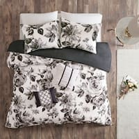 Intelligent Design Renee Black/ White Floral Print Duvet Cover Set