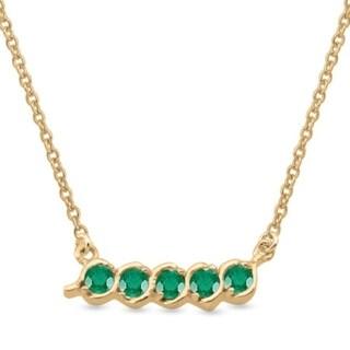 10K Yellow Gold Genuine Birthstone Pendant Necklace