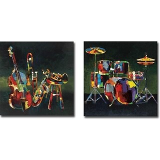 Ensemble and Drum Set by Elli and John Milan 2-piece Gallery Wrapped Canvas Giclee Art Set (Ready to Hang)