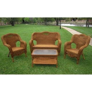 International Caravan Maui Resin Wicker Settee Group