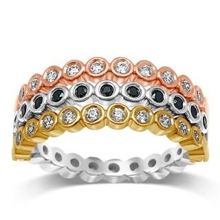 Unending Love 14K Tri-color Gold 3/4 Cttw White and Black Diamond Wedding Flip Ring