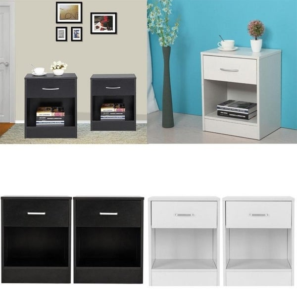 Set of 2 Bedroom Storage End Beside Table 1 Drawer Nightstand 2 Colors