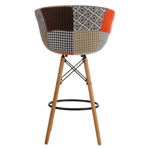 Danish Mid-Century Modern Multicolor Patch Upholstery Counter Stool