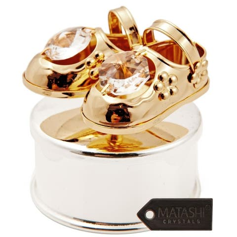 Matashi 24K Gold/Silver Plated Jewelry Box w/Crystal Studded Baby Shoes
