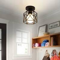 Vintage Cage Pendant Lamp Hanging Lamp Lightweight Birdcage Ceiling Light - Black