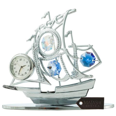 Matashi Chrome Silver Sailboat Tabletop Ornament with Clock Blue Crystals Home or Work Decoration