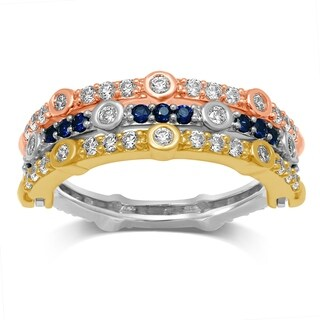 Unending Love 14K Tri-color Gold 7/8 Cttw Blue Sapphire and White Diamond Wedding Flip Ring