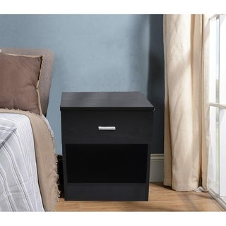 Modern Wood Bedroom Furniture Bedside End Table 1 Drawer Nightstand