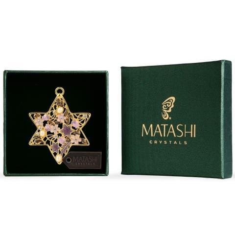 Matashi Traditional Star of David Hanging Ornament Pewter Classic Wall Decor Beautiful Gold Home Decoration