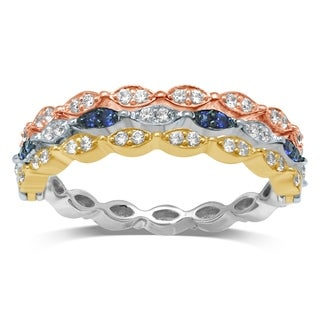 Unending Love 10K Tri-color Gold 3/8 Cttw Blue Sapphire and White Diamond Wedding Flip Ring