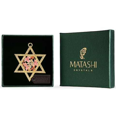Matashi Traditional Star of David Hanging Ornament Pewter Classic Wall Decor Beautiful Gold Plated Home Decoration