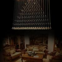 Modern Rectangle Shape Rain Drop Crystal Chandelier Curtain Indoor Lights - Silver